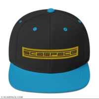 Snapback Hat, Embroidered Gold Text Logo (Scarpace Essential)