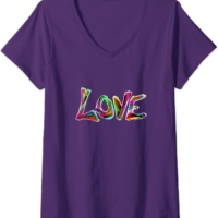 Womens Love in Rainbow Color Faith Graphic Womens Mens Kids V-Neck T-Shirt