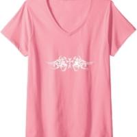 Women's Beautiful & Faithful Cross Wings Graphic V-Neck T-Shirt