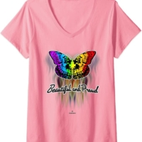Womens YES you are BEAUTIFUL no matter what; so be PROUD and HAPPY V-Neck T-Shirt