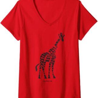 Womens Stand Tall and Naturally Pretty Giraffe V-Neck T-Shirt