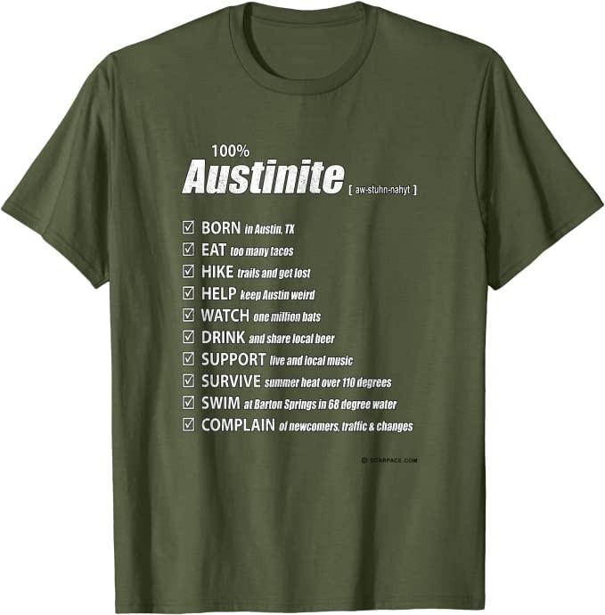 Official 100% Austinite (Austin, Texas) T-Shirt